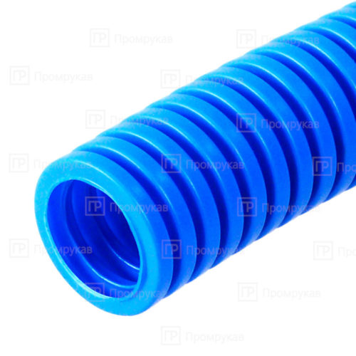 Труба гофрированная ПП лёгкая 350Н безгалогенная (HF) синяя d32 в бухте 25 м.