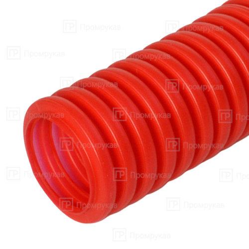 Труба гофрированная ПНД защитная для МПТ (пешель) красная d16/10,7 в бухте 100 м.