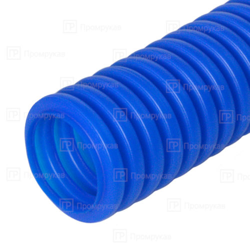 Труба гофрированная ПНД защитная для МПТ (пешель) синяя d32/24,3 в бухте 25 м.