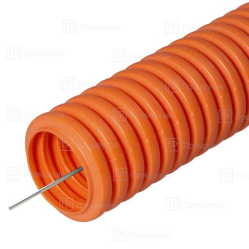Труба гофрированная ПНД лёгкая 350Н безгалогенная (HF) оранжевая d25 в бухте 50 м.